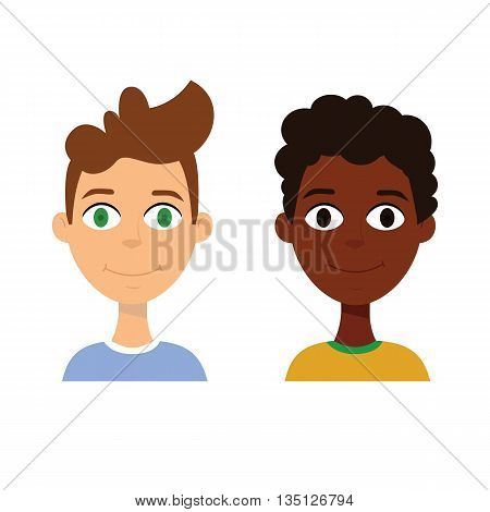 European and african ethnic cartoon boy avatar on white background