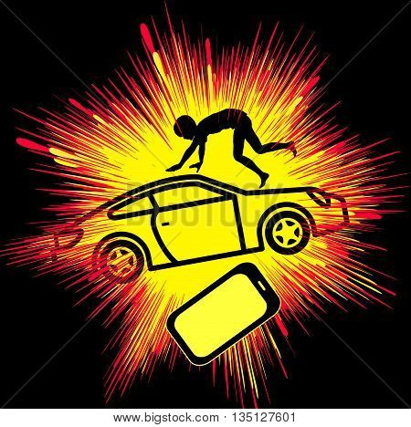 Smartphone causing Crash Victim. Young accident casualty through cell phone distraction