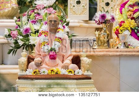Durban, South Africa - March 20 2016: Statue of Bhaktivedanta Swami Prabhupada in Hare Krishna Temple of Understanding South Africa. Artistic retouching.