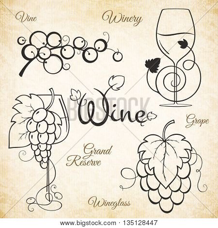 Logotype for winery, vineyard, wine shop, wine list. Food and drinks logotype symbol design