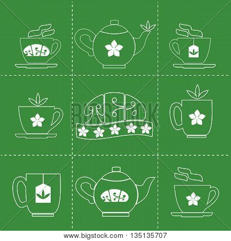 Tea time concept. Pot, cup, mug with Jasmine Green Tea. Hot healthy drink. Jasmine flower, tea leaves. Cafe menu, restaurant or bar decoration. Vector illustration