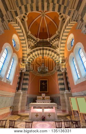 MARSEILLE, FRANCE - MAR 14 :Interior of  Marseille Cathedral on March 14, 2016. This is a Roman Catholic cathedral, and a national monument of France, located in Marseille.