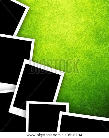 instant photos on paint background
