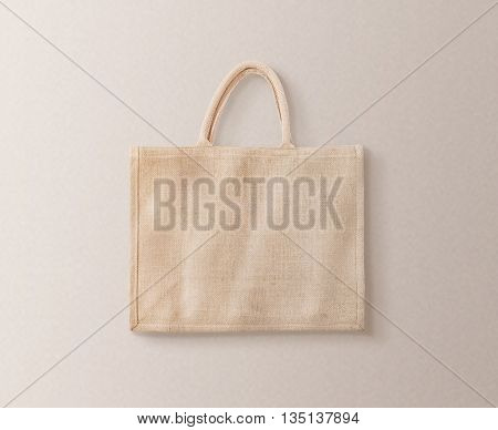Blank brown cotton eco bag design mockup isolated, clipping path. Textile cloth customer bag mock up template. Tote shoe consumer reusable organic craft package. Carrier recycle textured grossery bag.