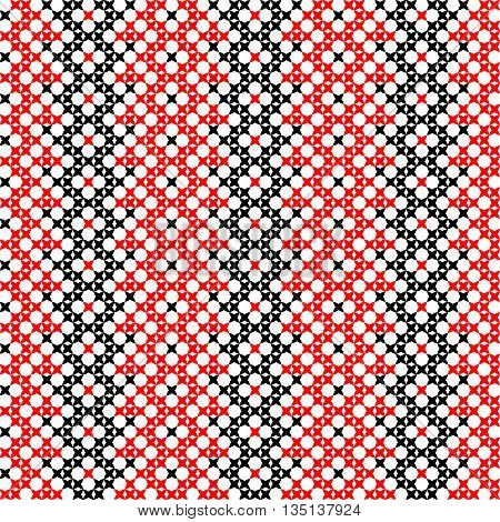 Seamless embroidered texture of abstract flat black and red patterns for cloth