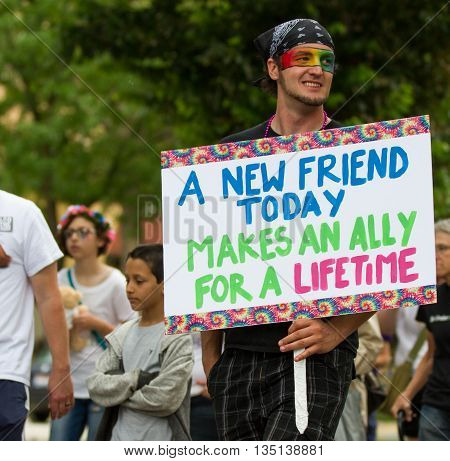 Boise, Idaho/usa - June 20, 2016: Man With A Sign In Support For The Boise Pridefest Event