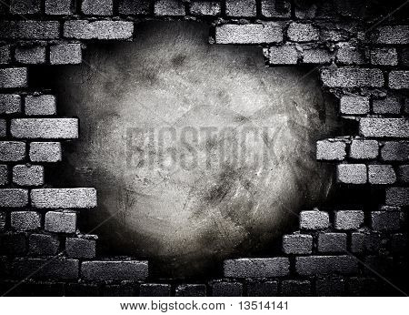 hole in brick wall poster