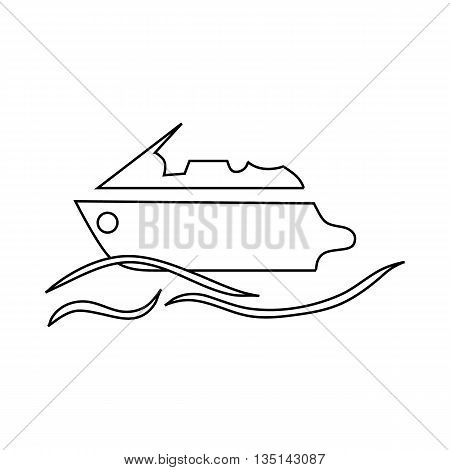 Powerboat icon in outline style on a white background