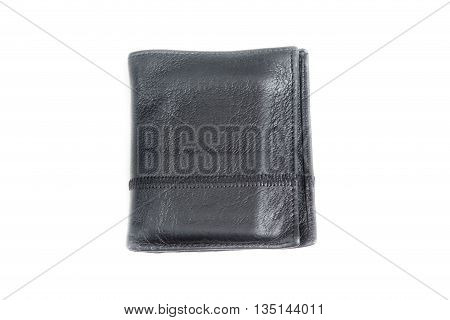 A black leather wallet for money isolated on white background