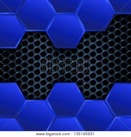 Geometric background with hexagons, Abstract metal background, Geometric pattern of hexagons with blue metal plates