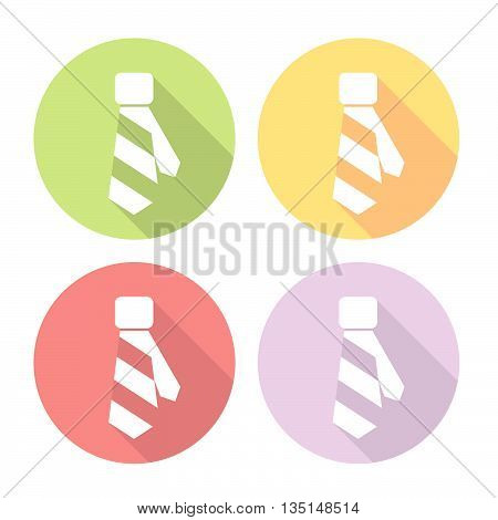 Necktie Wear Flat Style Design Icons Set