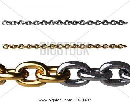 Золотые цепи и хромированные цепочки