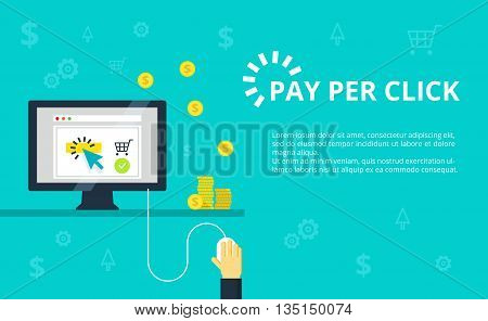 Pay per click - internet marketing, advertising concept in line and flat style. Hand clicks on mouse and making online purchase. PPC and conversion vector illustration.