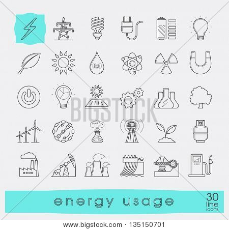 Set of line energy icons. Various energy sources.Various kinds of energies for use in industry and everyday life. Solar energy, bio alternative, fuel, electricity, nuclear, wind power, gas.