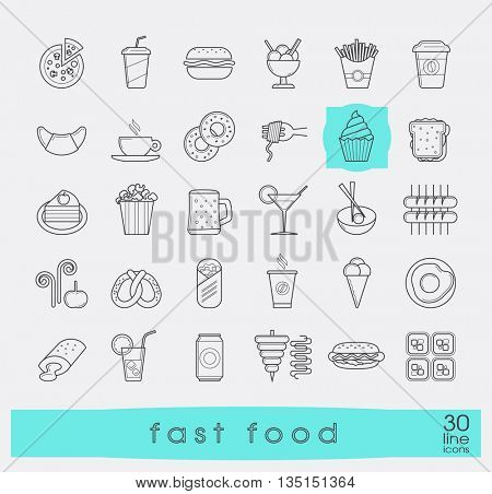 Set of premium quality fast food icons. Collection of  line icons of food and drink. Vector illustration.
