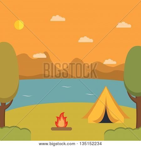 Tourist camp against mountains.infrastructure flat.landscape with the river and mountains.Summer landscape.Solitude in nature by the lake. Weekend in the tent.Hiking and camping.Natural landscape
