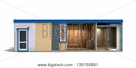 Large Container Building For Workers In A Cut With An Inner Filling 3D Render On White