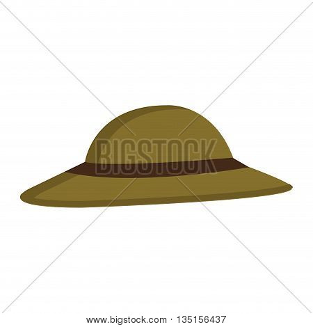 green hat with brown loop over isolated background, vector illustration