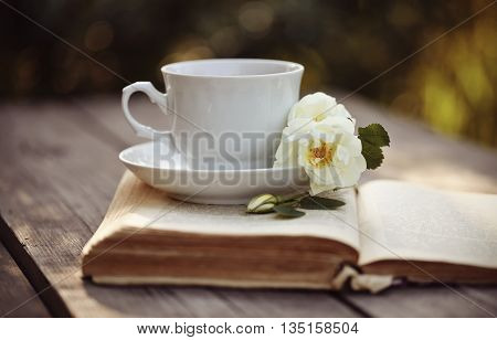 White tea cup with a flowers of dogrose on an open old book on a wooden table.