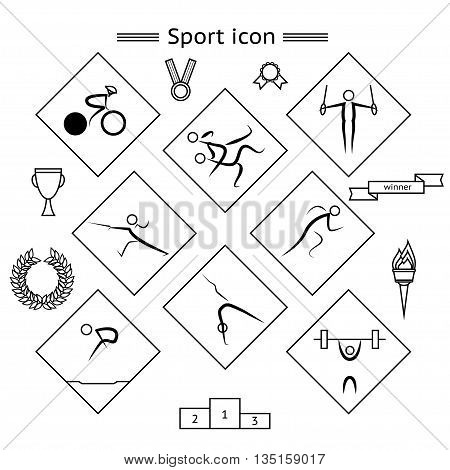 Sport Silhouette pictograms with icons signifying the victory in the competition such as medal golden bowl torch ribbon pedestal