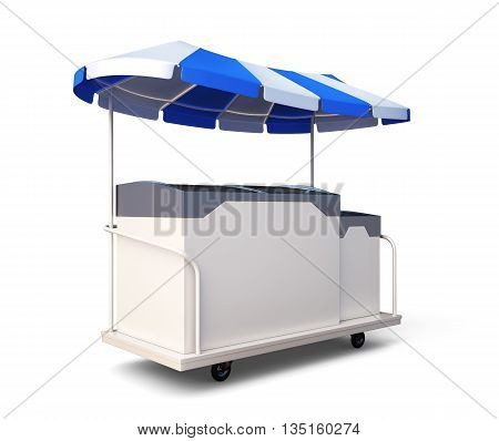Mobile refrigerator with ice cream isolated on white background. 3d rendering.