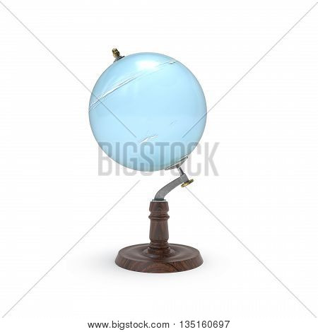 Globe map of uranus 3d rendering on white backround