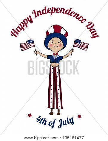 Happy USA Independence Day card. Boy dressed in uncle Sam costume on tilts with American flags. Boy dressed in american flag colors on parade. 4th of July national holiday vector design.