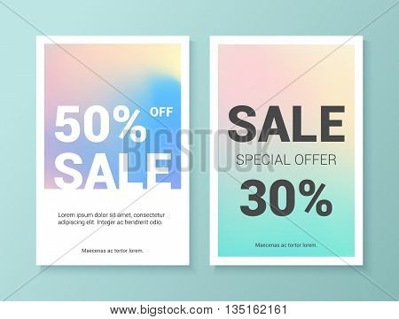 Set of colorful holographic flyers. Abstract vector flyers with holographic elements.