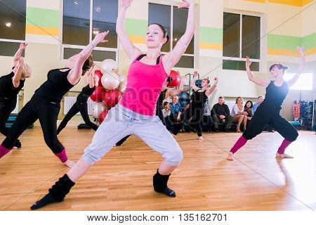 MOSCOW, RUSSIA - November 18, 2012 - Dance class for women at fitness centre local gym