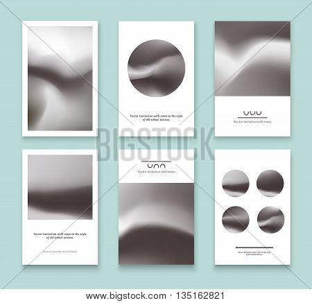 Set of black and white holographic cards. Abstract vector invitations with holographic elements.