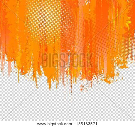 Orange Grunge Paint Splashes Background. Vector Background with place for your Text. Vector Splash Graffiti Texture with Halftone Dots Background. Color Ink. Artistic Color Graphic