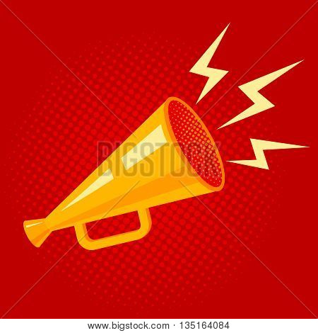 Vector vintage poster with yellow megaphone on red background
