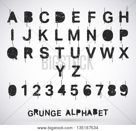 Alphabet grunge font set. Textured rough typeface with scratches. Letters and numbers. Vector illustration.
