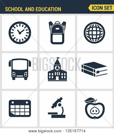 Icons Set Of Premium Quality Of Elementary School Objects And Education Items, Learning Symbol And S