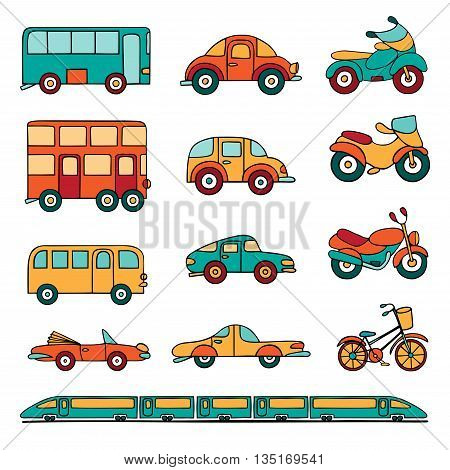 Vector set of cartoon land transport. Colorful cars buses motorcycles and a train drawn by hand in cartoon style.