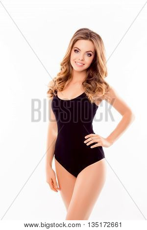 Portrait Of Pretty Happy Young Woman In Black Swimsuit