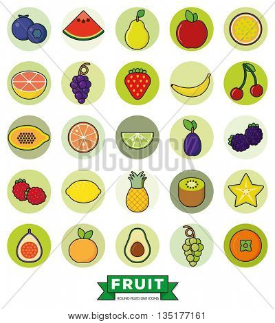 Collection of line fill fruit icons in green circles on white background
