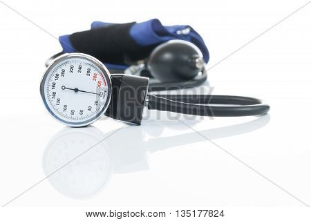 Blood Pressure Measuring Medical Equipment On White Background - A Tonometer