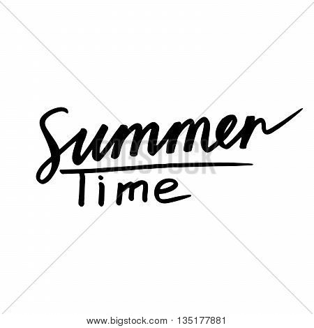 Summer Time: handwritten vector text on white background. Sun poster with writing text: Summer Time. Handwritten calligraphy. Design lettering ink. Letters painted with a brush. Vector illustration.