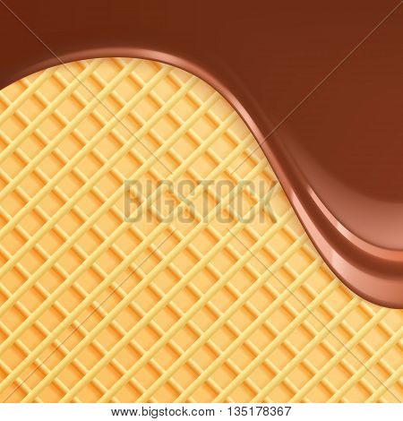 Melted chocolate with wafer vector illustration. Flowing chocolate and wafer background. Melted chocolate dripping.