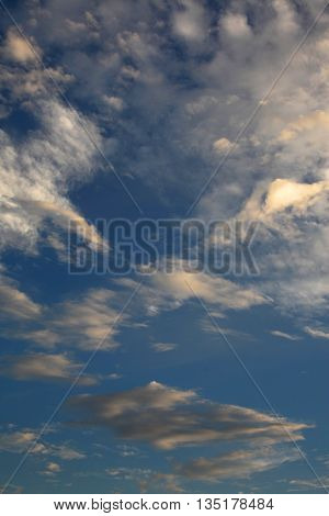 Sunset with clouds in the blue sky.