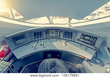 Moscow Russia - April 08 2015: Interior of the highspeed train cockpit. Train Sapsan (peregrine) runs between Moscow and St. Petersburg.
