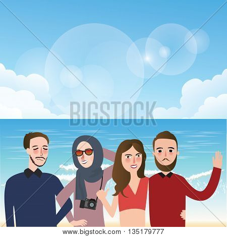 friends taking picture together wearing veil fun on beach illustration vector