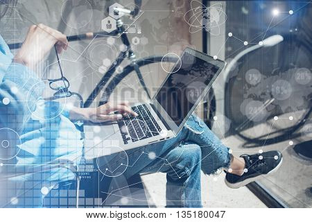 Woman Using modern Laptop Hand.Project Manager Researching Process.Business Team Working Startup Design Studio Loft.Global Strategy Virtual Icon.Innovation Chart Interface.Analyze market stock.Blurred