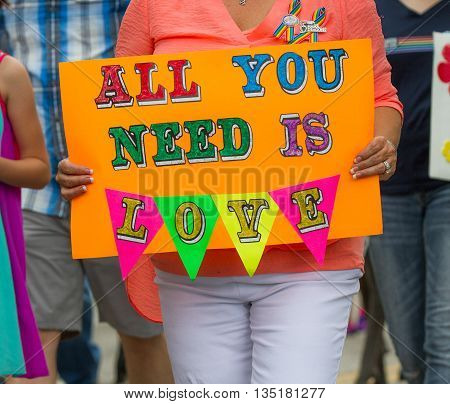 Boise, Idaho/usa - June 20, 2016: Sign Reading All You Need Is Love During Boise Pridefest