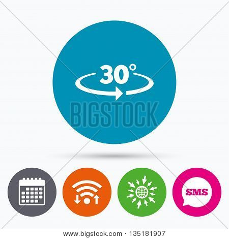 Wifi, Sms and calendar icons. Angle 30 degrees sign icon. Geometry math symbol. Go to web globe.