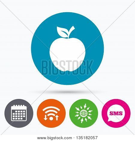 Wifi, Sms and calendar icons. Apple sign icon. Fruit with leaf symbol. Go to web globe.