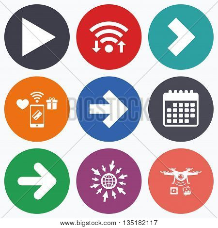 Wifi, mobile payments and drones icons. Arrow icons. Next navigation arrowhead signs. Direction symbols. Calendar symbol.