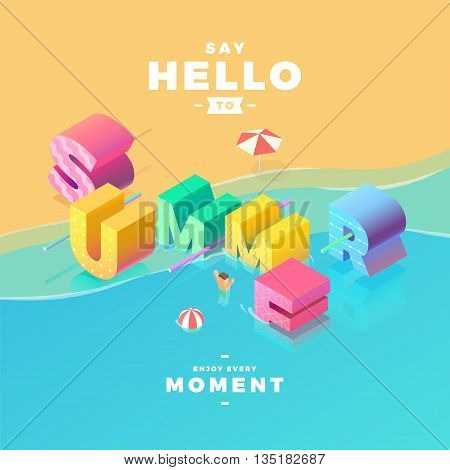 say hello to summer sign in sea isometric illustration