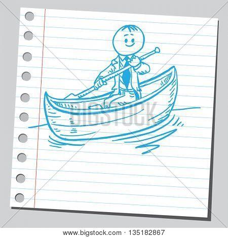 Businessman in canoe